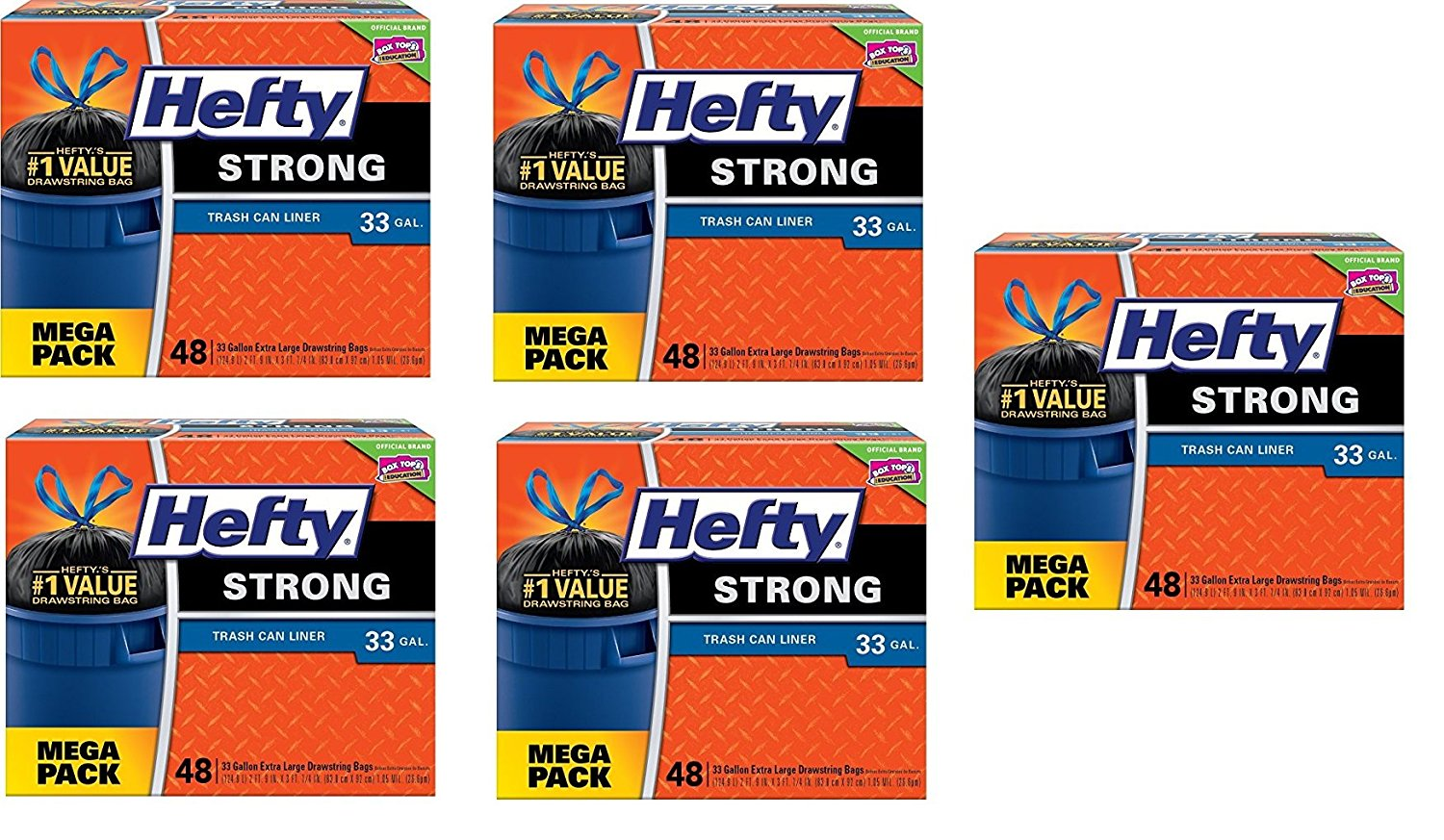 Hefty Strong Large Trash Bags (Trash Can Liner, Drawstring, 33 Gallon) (5 Pack(48 Count))