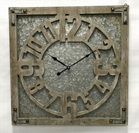 Large Iron Wall Vintage Retro square clock ,Galvanized Wall Clocks Stylish Wall Clock ,Antiquite Paris Square Wall Clock