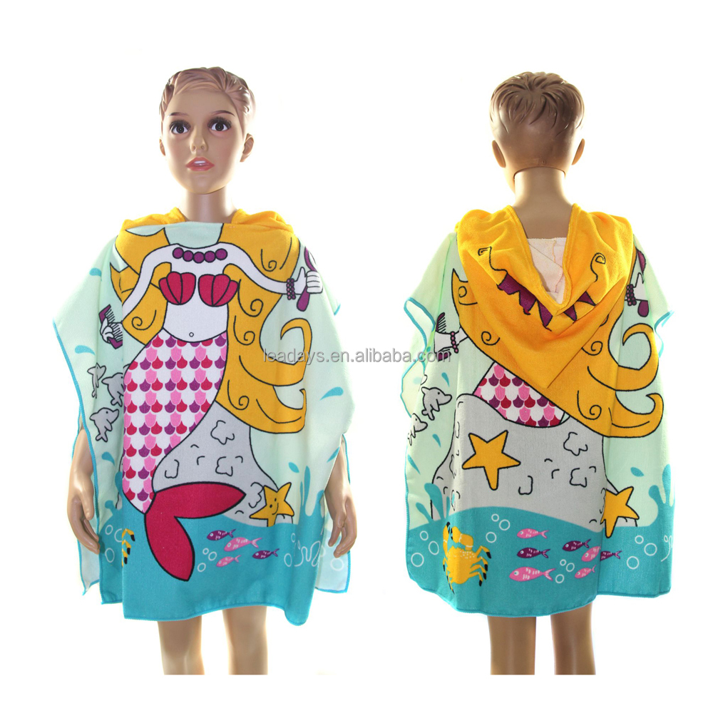 Cartoon printed microfiber kids hooded poncho towel