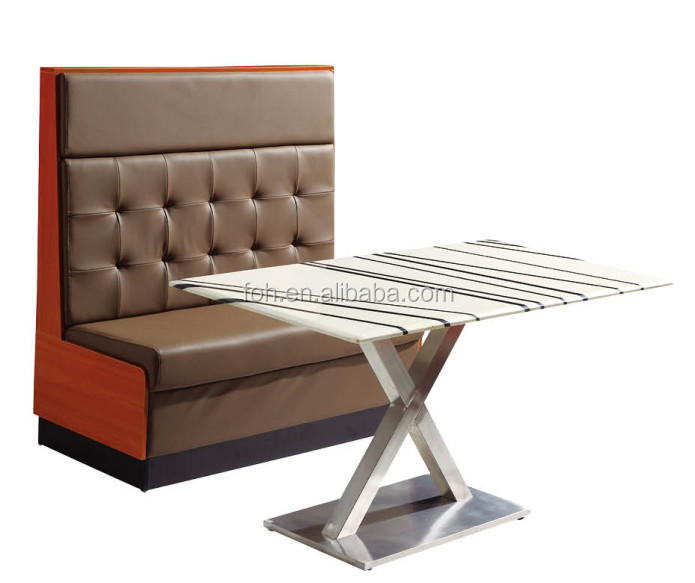 Fast Food Restaurant Coffee Color Pu Leather Sofa Booth And Rectangle Artificial Marble Top Table Foh Cbck16