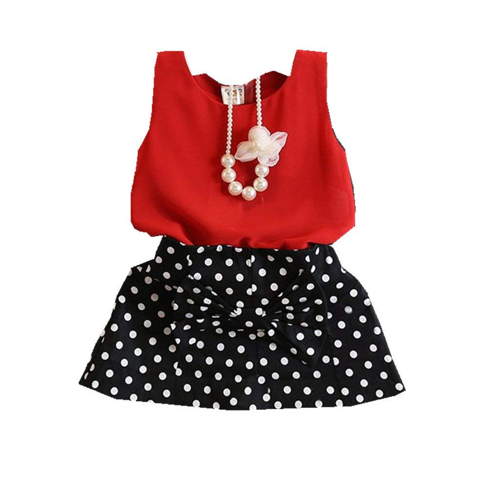 FTSUCQ Girls Necklace Shirt Top with Polka Dot Skirt,Two-Pieces Sets