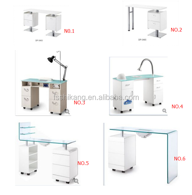 White nail salon glass top manicure table with exhaust fan for Manicure table with exhaust fan