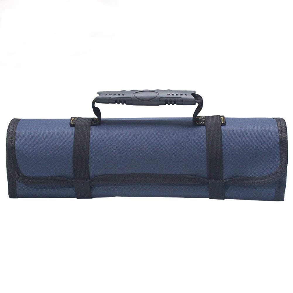 Large Wrench Roll Portable Tool Roll Pouch/Bag/Carrier 22 Pockets with 1 Zippered Pouch Coiling Block Bag Wera Tools Truck Tool Box Big Tote Carrier Socket Tray Electricians Organizer BD0006 (blue)