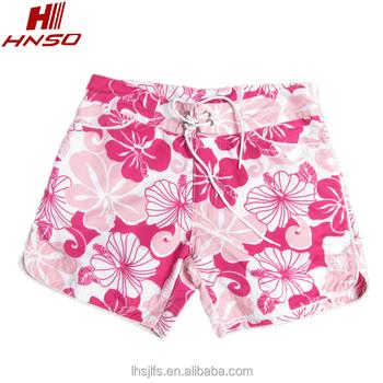 70ca383b4b 100% polyester flower fabric beach shorts women Board Shorts for surf