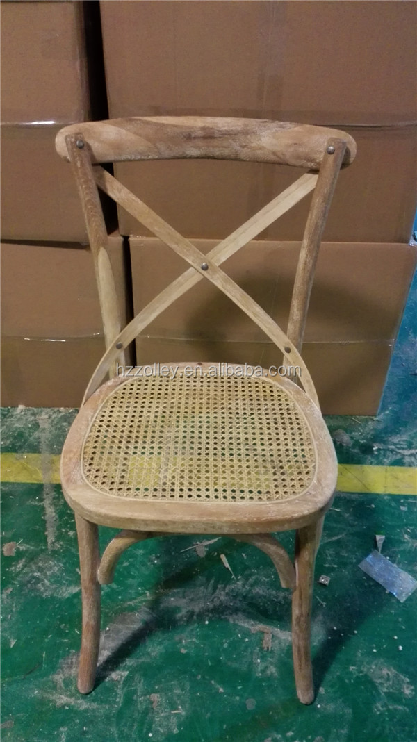 French Antique Style Oak Wood Frame Rattan Cane Seat X