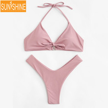 Bowknotted Young Girls Bathing Suit Sexy Push Up Bikini