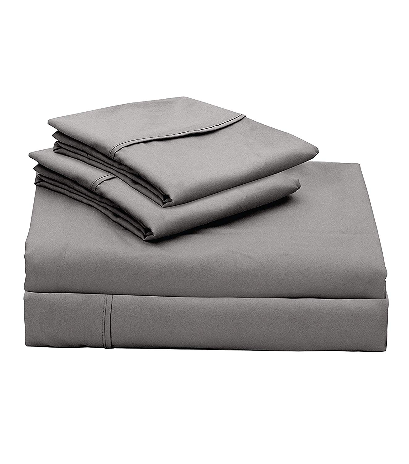 """300-Thread-Count 100% Cotton Sheet Elephant Grey Queen-Sheets Set, 4-Piece Long-Staple Hand Picked Cotton Best Bedding Sheets for Bed, Breathable, Soft & Silky Sateen Weave Fits Upto 18"""" Deep Pocket"""