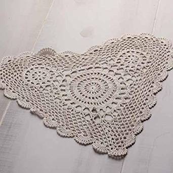 """14"""" Ivory Heart Cotton Hand Crocheted Lace Doilies, Set of 4"""