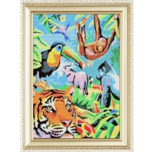 zoo tiger Elephant bird diy oil painting by numbers kit for home decoration a104