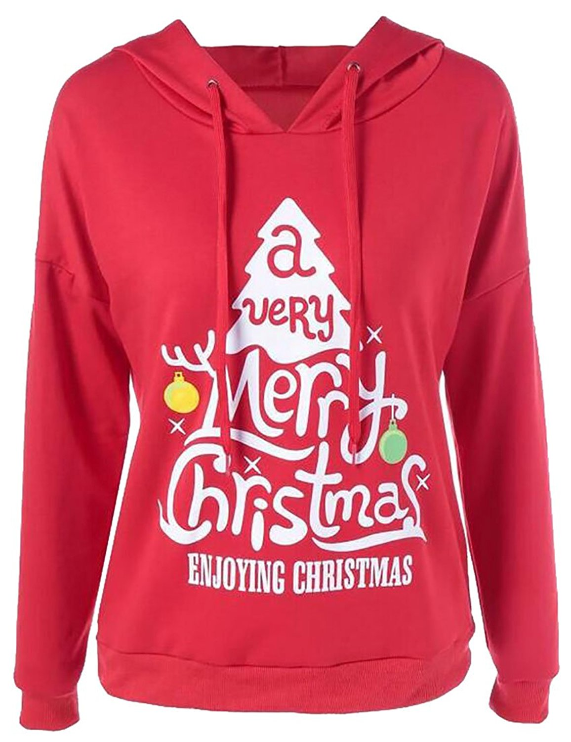 ONTBYB Womens Long Sleeve Christmas Letter Pullover Casual Hoodie Sweater