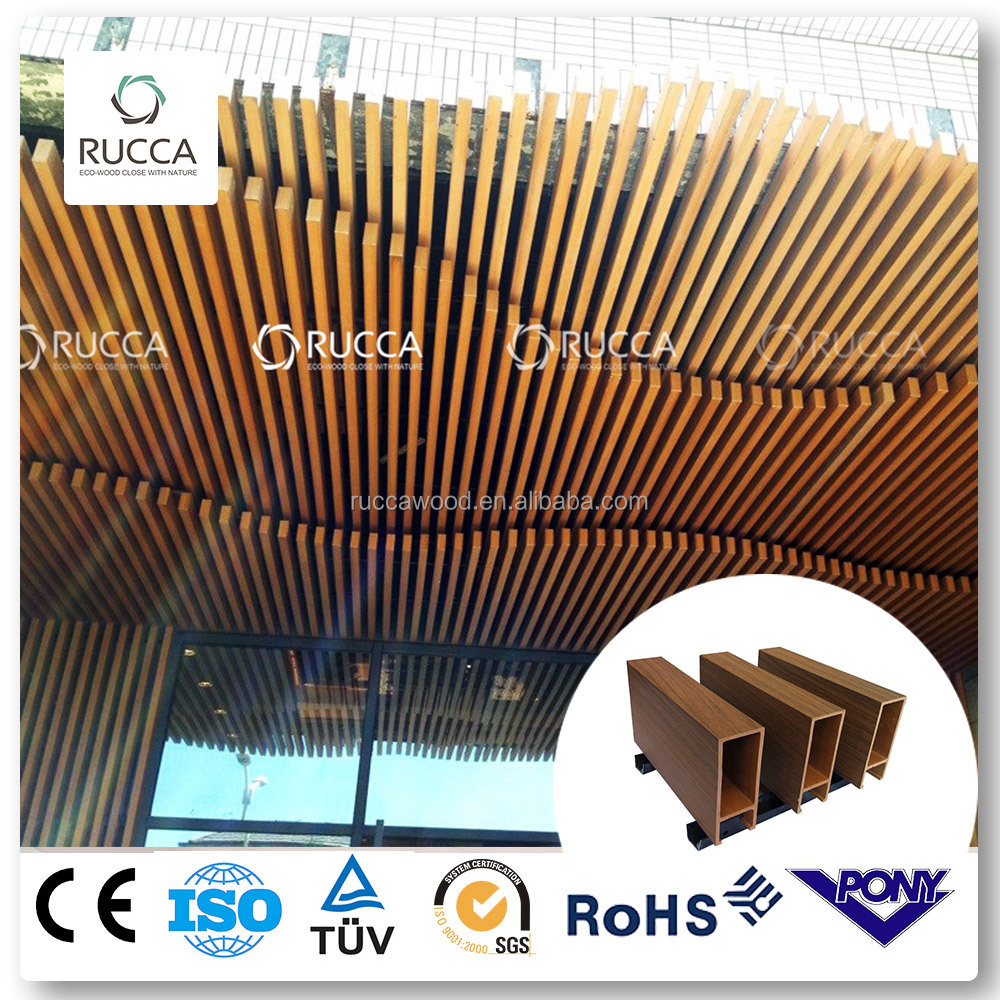 Foshan Ruccawood WPC Material , Interior Decorative Suspended Ceiling Design,Wood Color 40X100 mm