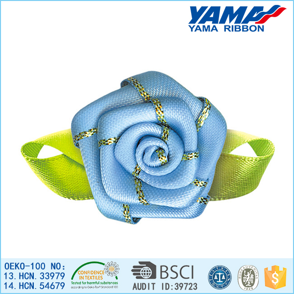 Hot sale sweet lovely blue satin ribbon handmade mini craft roses flower