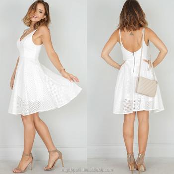 06664c104a Novo modelo de vestidos casuais moda verão vestido de crochê branco 2017