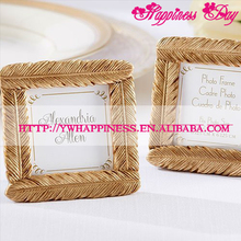 Gold Resin Feather Photo Frame Place Card Holder Wedding Decoration Favors Bridal Shower Party Gifts