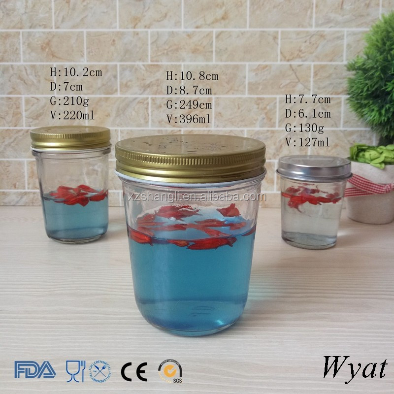 Empty Wide Mouth 100ml 200ml 400ml Glass Honey Jars with Lids