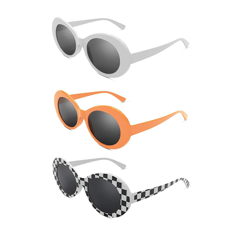 fd96af178a Get Quotations · Davachi Clout Goggles Set Kurt Cobain Oval Sunglasses White