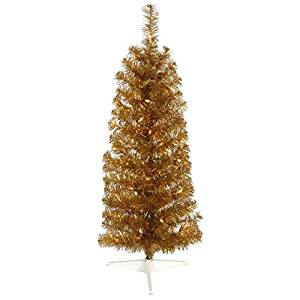 Vickerman Pre-Lit Antique Gold Artificial Pencil Tinsel Christmas Tree with Clear Lights, 4.5'