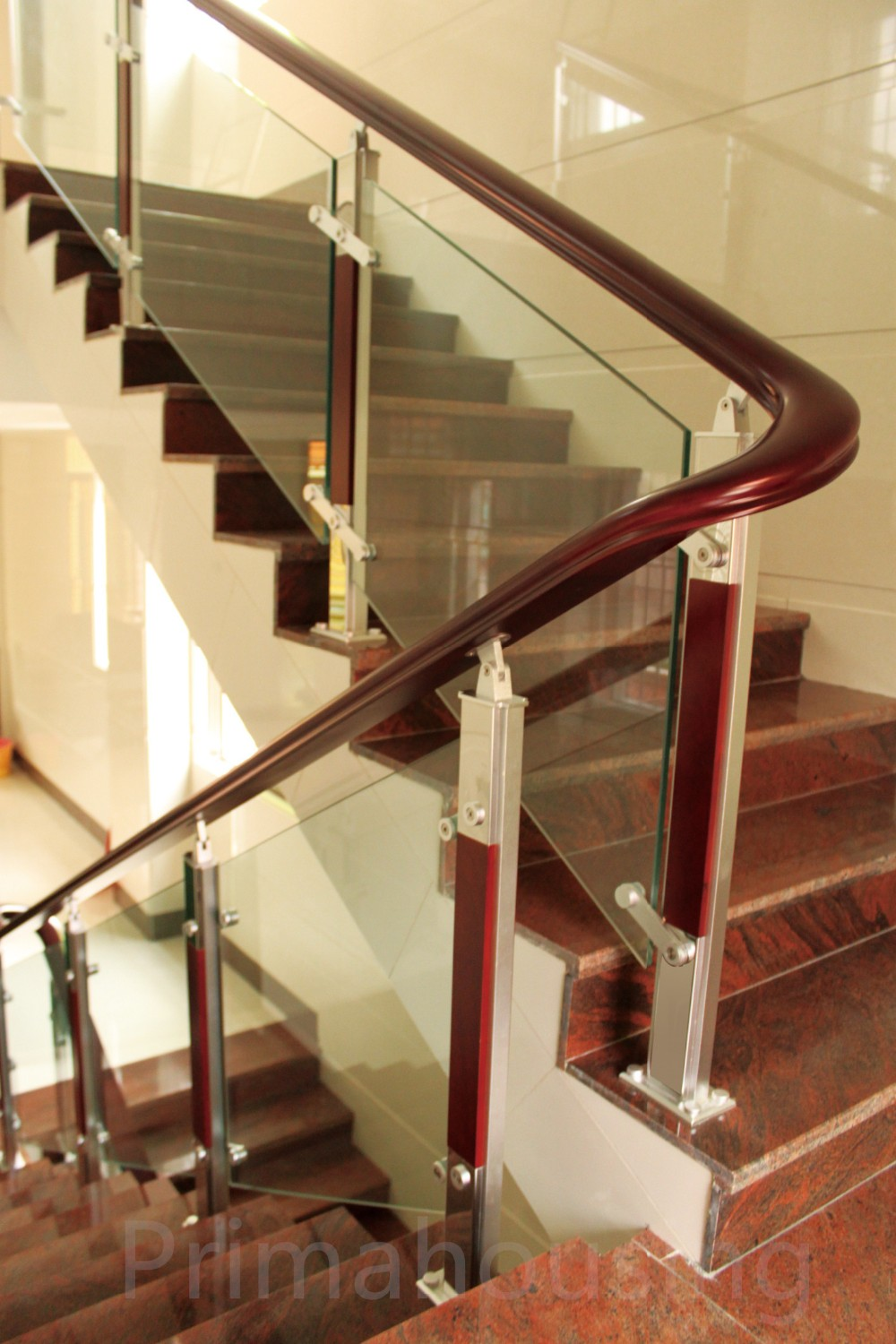 Modern Railing Design Stainless Steel Wood Glass Stair