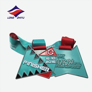 Longzhiyu12years mancfacturer Custom enamel spinning medals metal rectangle medals running award medals with design ribbon