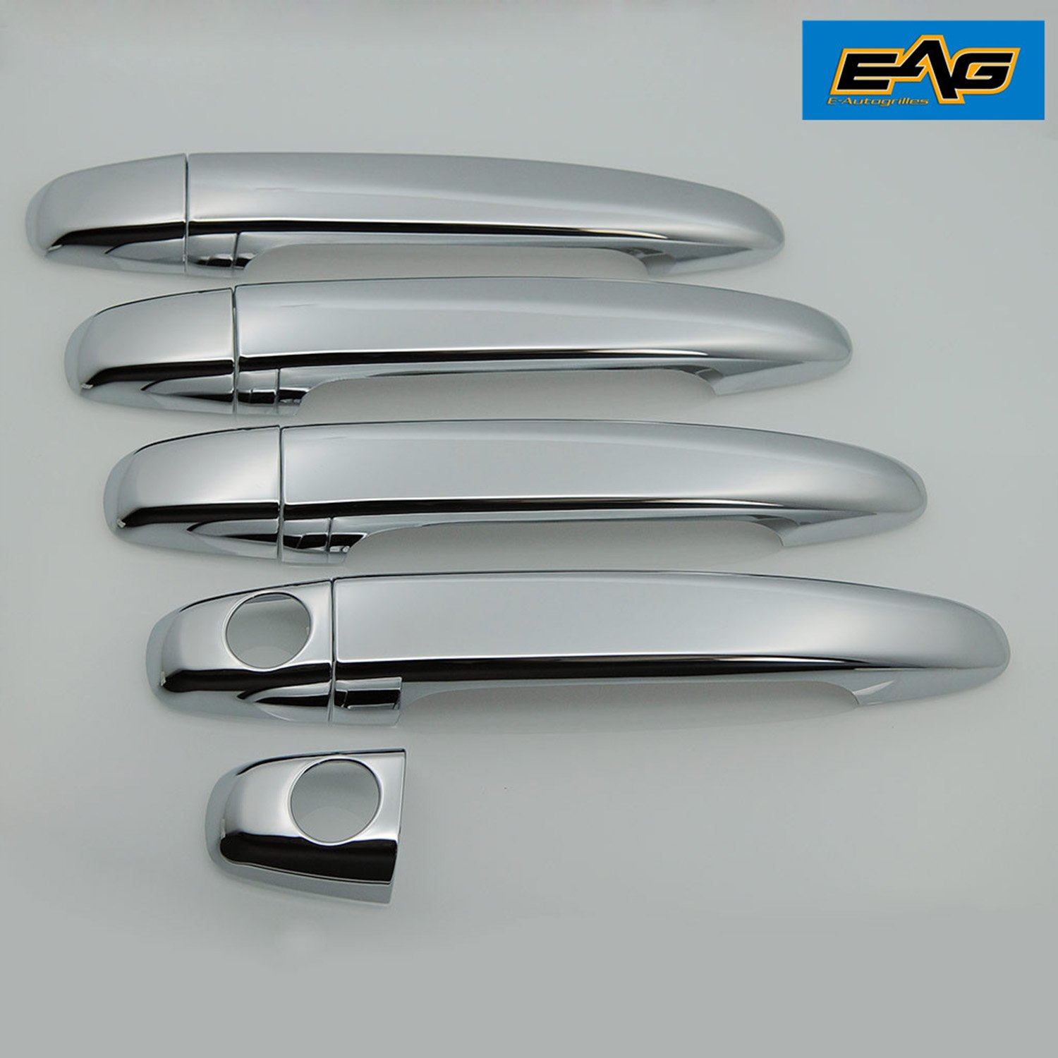 E-Autogrilles Triple Chrome Plated ABS 4 Door Handle Cover without Smart Key Hole for 05-15 Toyota Tacoma / 03-09 Toyota 4Runner / 07-11 Toyota Camry / 08-13 Toyota Highlander / 03-09 Lexus GX 470 / 04-09 Lexus RX 330/RX350/E4004 / 05-12 Toyota Avalon / 04-10 Toyota Sienna (64-0508)