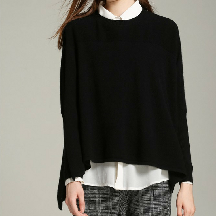 Custom Leisure Loose Luxury Cashmere Solid Sweater Women