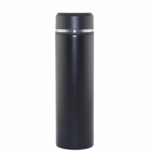 Black and white 450ml stainless steel vacuum flask with tea filter
