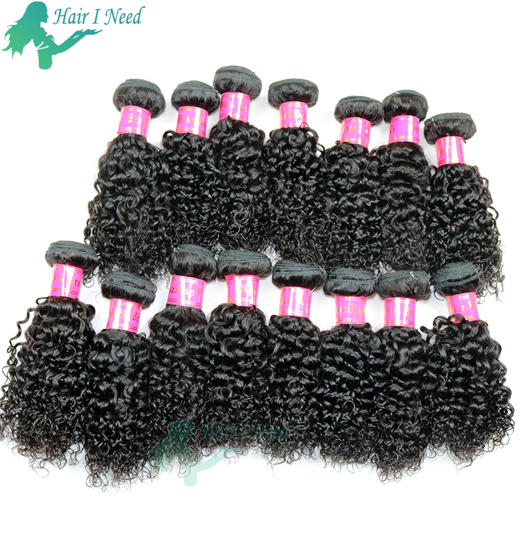 Brazilian Hair 4 Bundles With Closure Short Human Hair Weave Bundles With Free Part Lace Closure 8A Brazilian kinky curly Hair