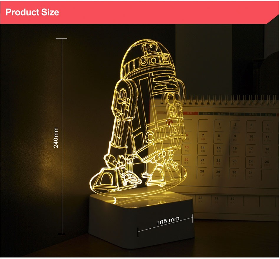 CNHIDEE 3D Visual Led Night Lights for Kids Robort R2 Touch Table Lampara as Besides Lampe for Star war Fans (5)