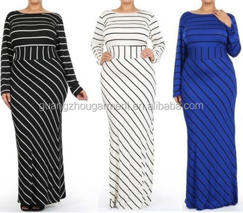 Plus Size Striped Black White Blue Slim Long Hourglass Mermaid Skirt Maxi  Dress - Buy Plus Size Striped Hourglass Mermaid Dress,Plus Size Bohemian ...