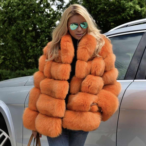 Custom Winter Casual Style Ladies Orange Color Natural Real Fox Fur Coat Jacket