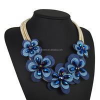 4 colors boho handmade flower necklace,crystal beads flower jewelry(PR1615)