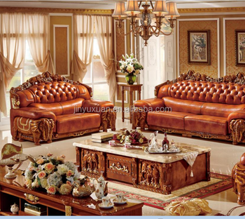 Living Room Furniture European Leather Sofa With Coffee Table W320c