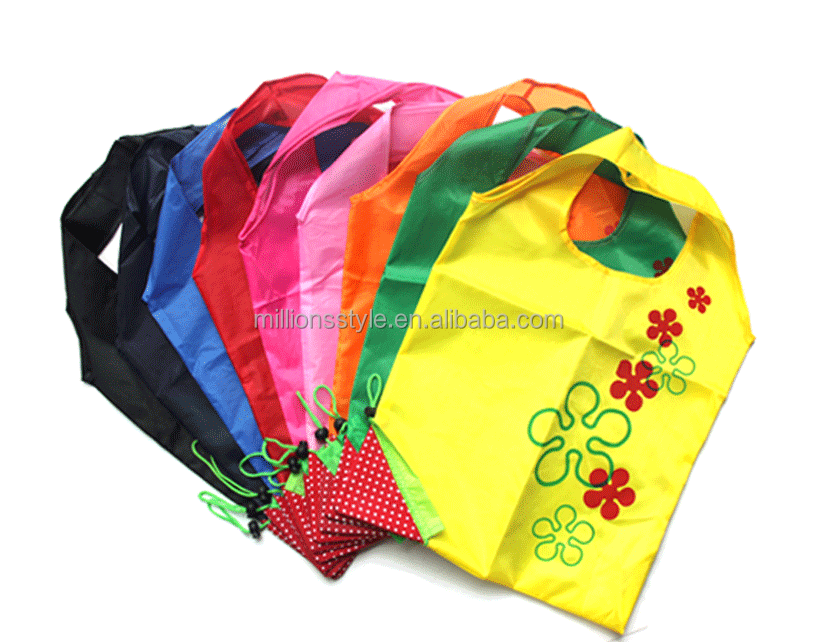 Reusable water resisted foldable polyester shopping bag, eco-friendly convenient folding strawberry shopping bag