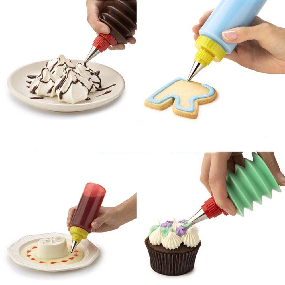 SUPOW Cake Squeeze Bottles, Dessert Cookie Cupcake Muffin Decorating Set Icing Piping Bottle Kit DIY Cake Baking Tool