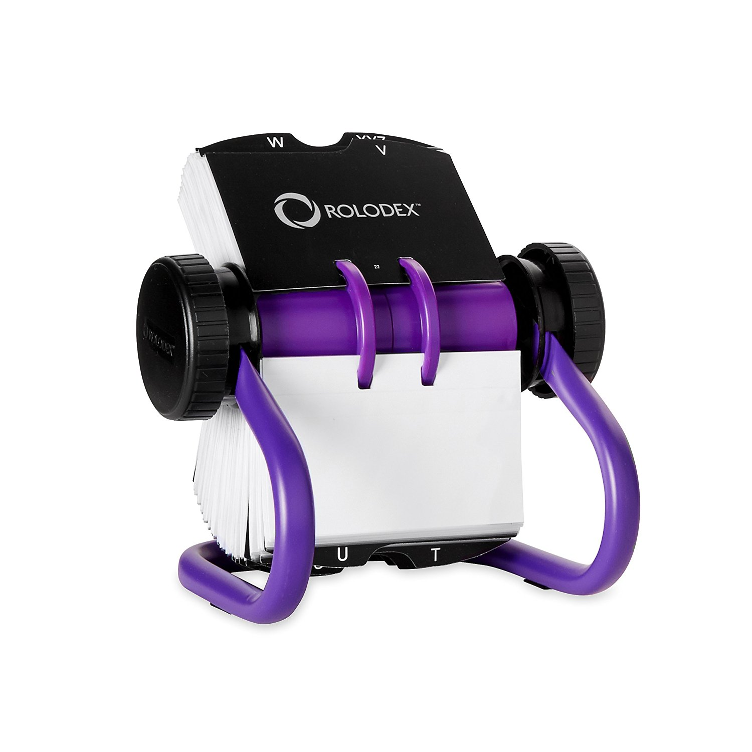 rolodex open rotary business card file 200 card purple 1819543 - Business Card Rolodex