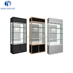 Custom retail store high metal frame modern glass wine cocktail cabinet showroom display shelf