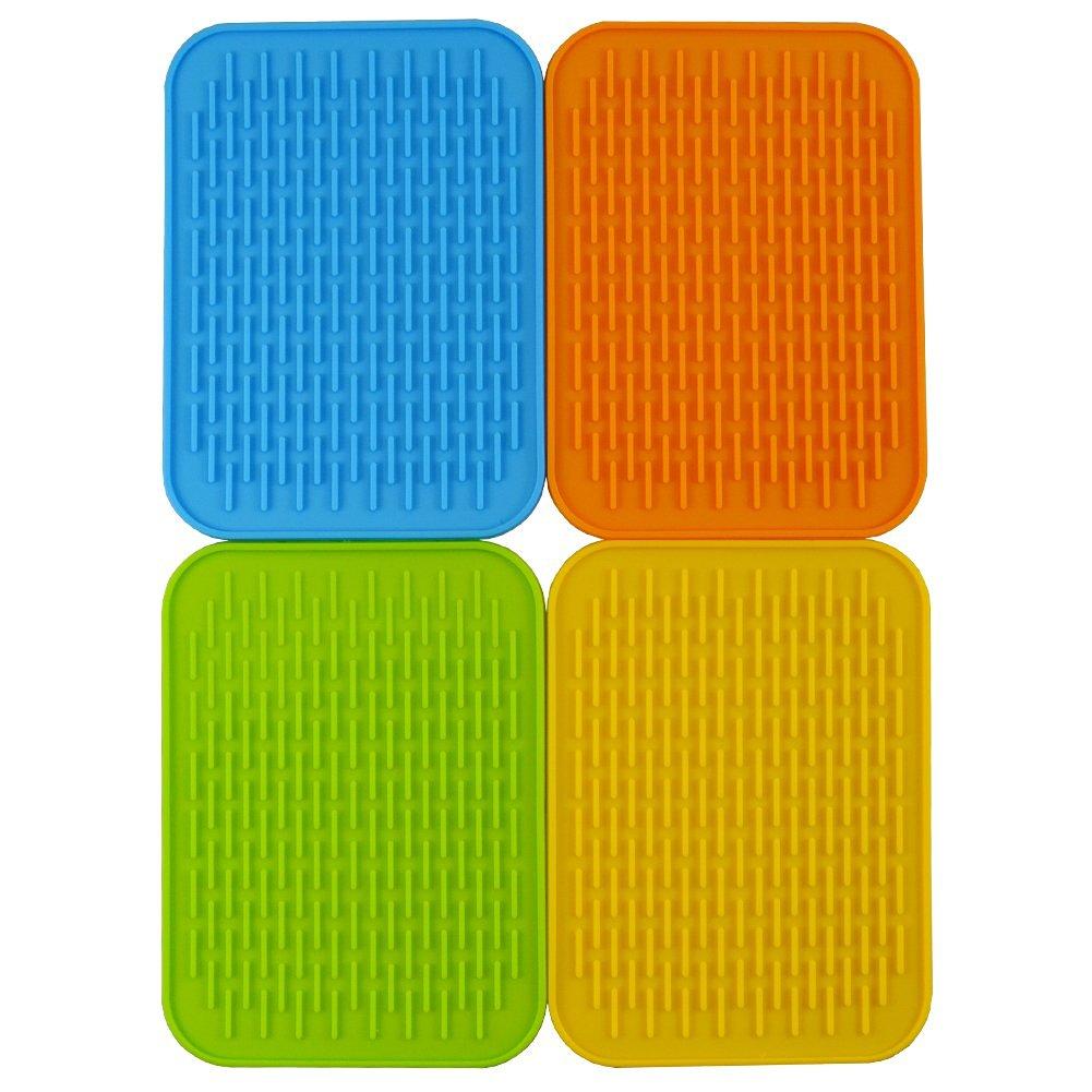 "Baicfquk Hot Pads, 4-pack Silicone Pot Holder,trivet Mat, Non Slip, Flexible, Durable, Heat Resistant Hot Pads Perfect Modern Home Decor Silicone Heat Resistant Insulation Mat, Tableware Insulation Pad Potholders Insulation Non-slip Mat Square (6.2""x8.5"")"