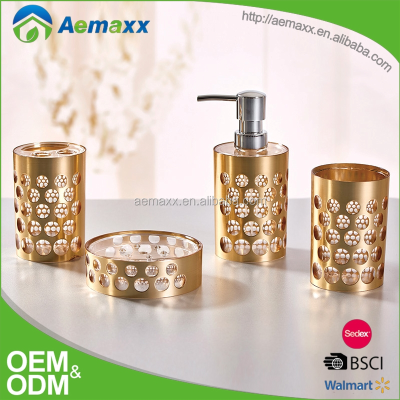 Luxury hotel gold bathroom accessories