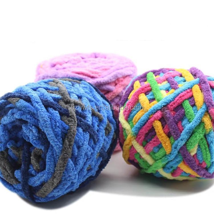 100%ポリエステルハンド編み分厚いジャンボビーガンシェニール糸