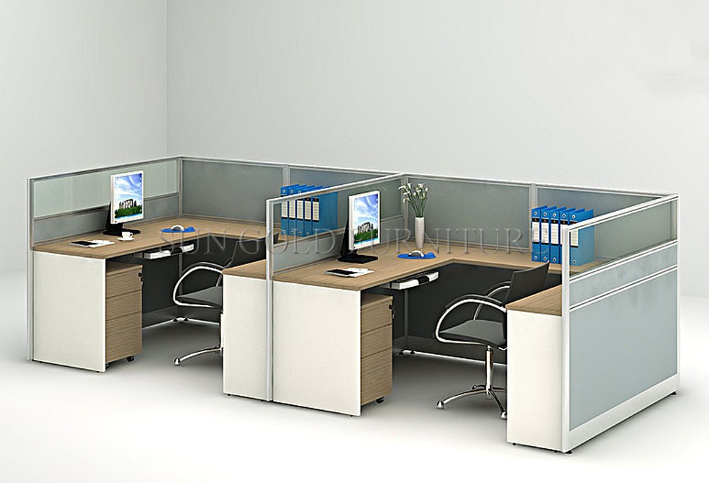 Modern Aluminum U Shape Cubicle Desk With Wooden Low