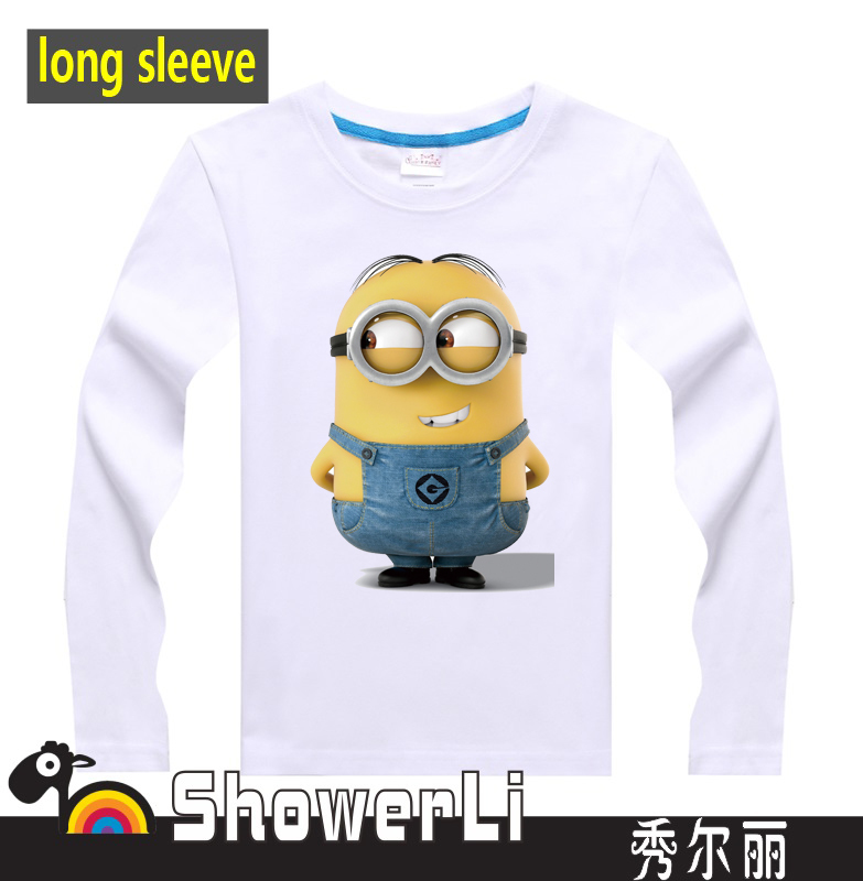Cotton full long sleeve children t shirts mimions Despicable me boys girls lovely figure kids wear