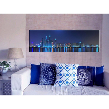 modernhongkong skyline city night foto verlichte led canvas schilderij licht up wall art home decoratieve gicleedruk