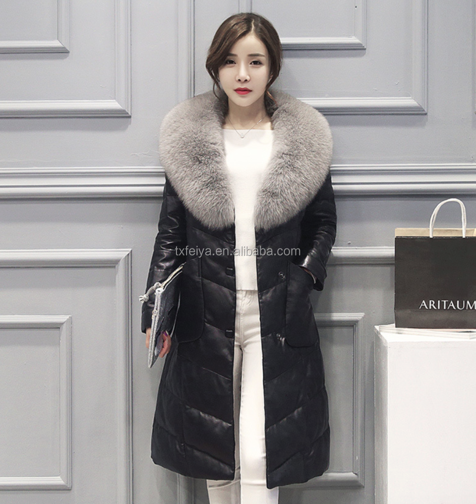 Wholesale Women Real Sheep Skin Leather Down Feather Long Coat Jacket With Fox Fur Collar