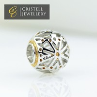 Costom logo engraved 925 sterling silver platinum and gold woman slide charms beads jewelry for charms bracelets