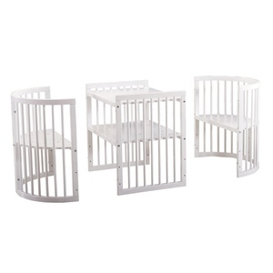 Shenglin wood high quality 9 in 1 multifunction safety round nursery cot baby bed