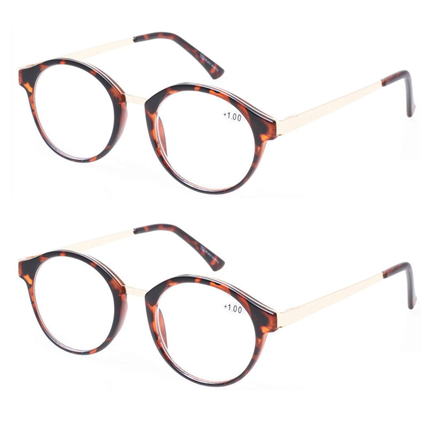5d079b9c452 Get Quotations · READING GLASSES 2 Pack Vintage Metal Round Reading Glasses  Classic Retro Readers