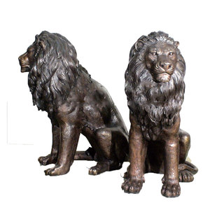 Outdoor Decorative Garden Antique Cast Brass Lion Statue