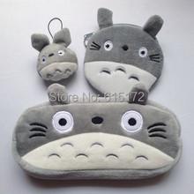 1 Set = 3 item together Kawaii Cute Birthday Gift Plush My Neighbor Totoro Pencil Case Novelty Pen Bag Animal Cartoon pencilcase