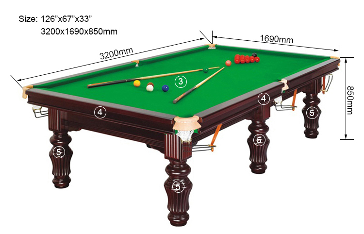 SZX standard size solid wood slate snooker table price on sale in China