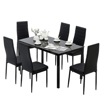 Metal Dinning Room Tempered Glass Dining Table Set with 6 Chairs Home Furniture Luxury Black Modern European Kitchen
